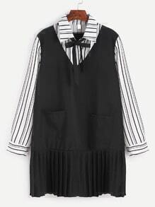 Striped Bow Tie Ruffle Hem 2 In 1 Shirt Dress