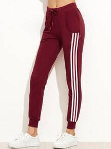 Burgundy Side Stripe Drawstring Tapered Leg Pants