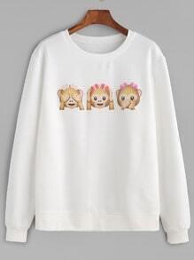White Monkey Print Sweatshirt