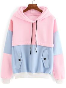 Sweat-shirt avec capuche couleur bloc - rose et bleu