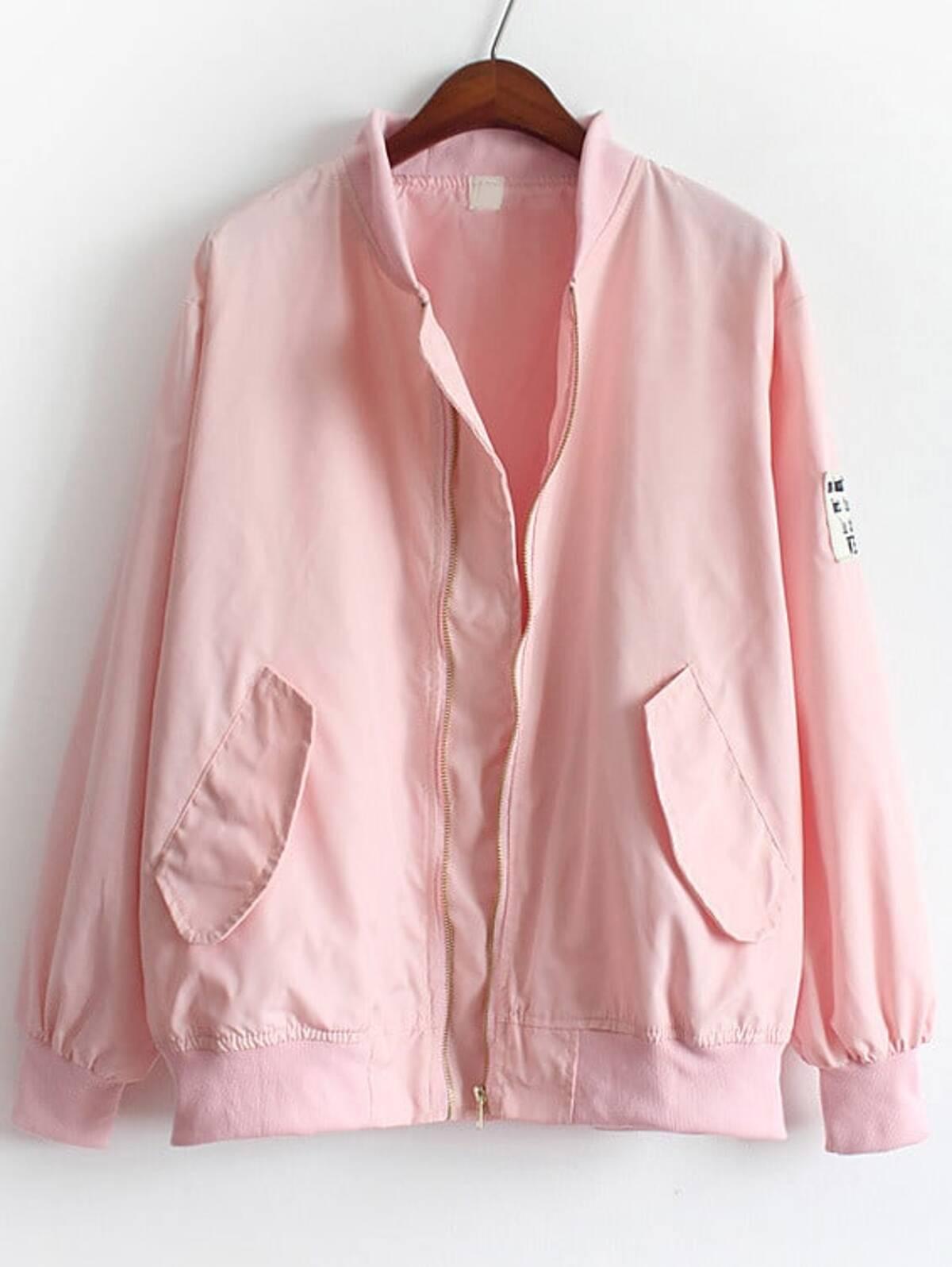 粉紅色 立領 口袋 寬鬆 外套