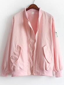 Pink Stand Collar Pockets Loose Jacket