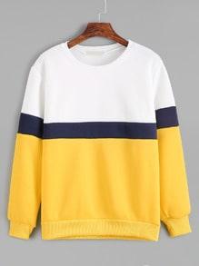 Sweat-shirt manche longue couleur bloc