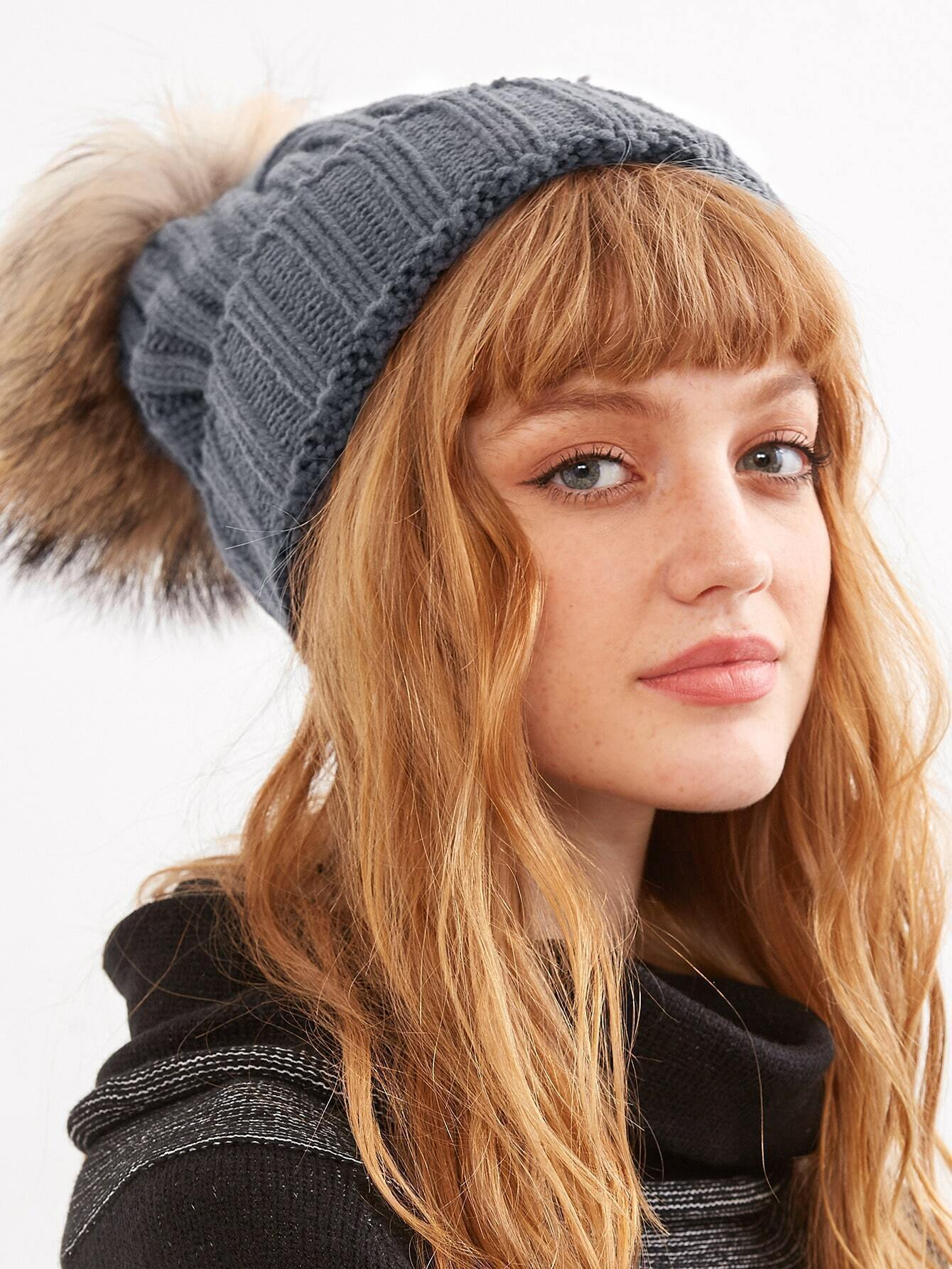 Grey Ribbed Detachable Pom Pom Hat