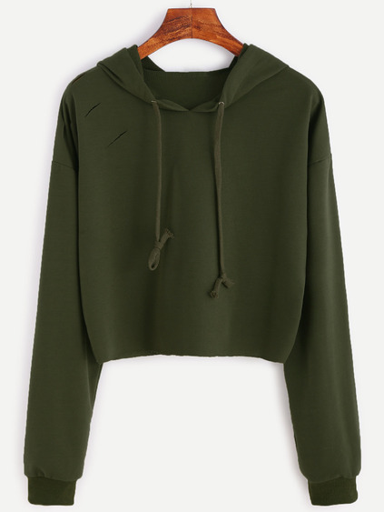 Army Green Drop Shoulder Ripped Hooded Crop Sweatshirt