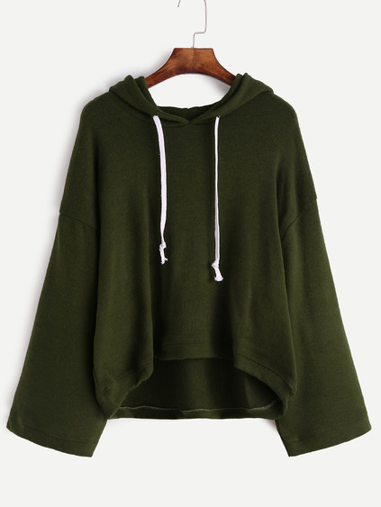 Dark Green Drop Shoulder Drawstring Hooded Sweater
