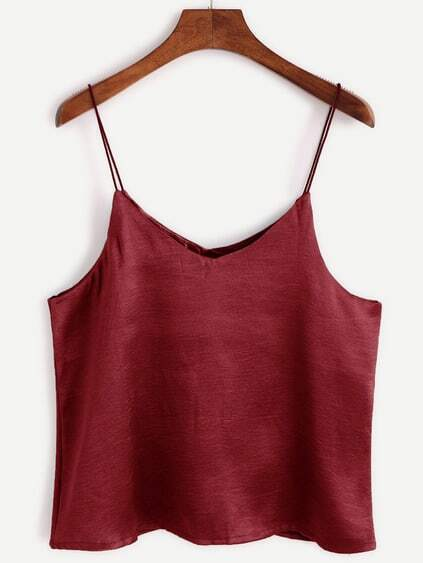 Top à bretelle en satin - bordeaux