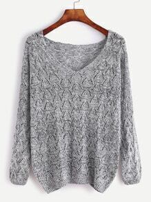 Grey V Neck Loose Sweater