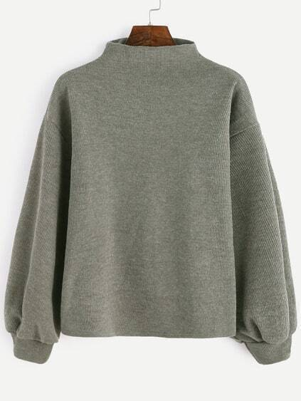 Mock Neck Lantern Sleeve Loose Sweater