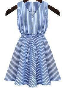 Blue V Neck Belt Striped Dress