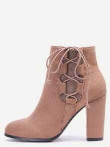 Khaki Faux Suede Lace Up Side Short Boots