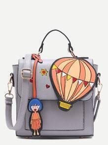 Cute Cartoon Pendant Embellished Flap Handbag With Strap