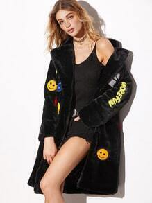 Black Patches Faux Fur Quilted Coat
