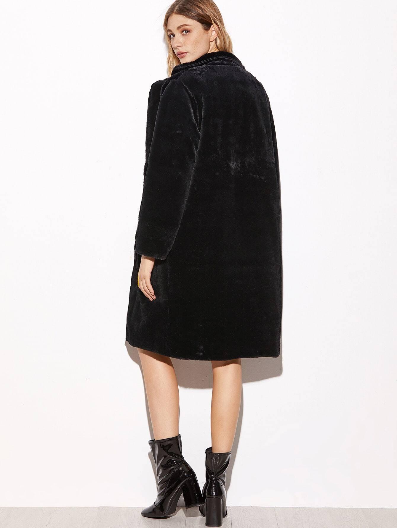 manteau douillette en fourrure fausse avec pi ces noir french romwe