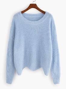 Blue Dropped Shoulder Seam Wave Hem Sweater