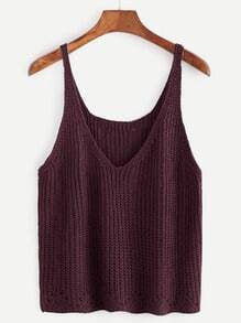 Dark Red V Neck Sweater Vest