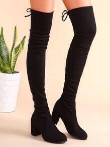 Black Suede Tie Back Chunky Heel Thigh High Boots