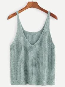 Pale Green V Neck Sweater Vest