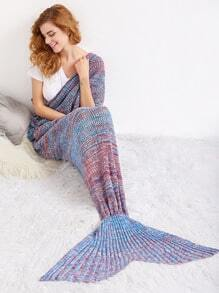 Red And Blue Random Marled Textured Knit Mermaid Blanket