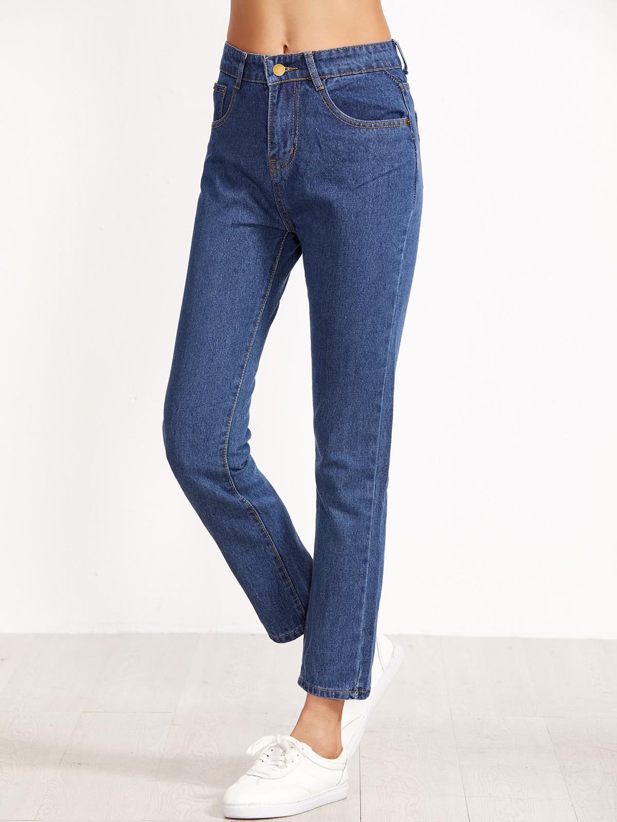 高腰 牛仔布藍色 褲