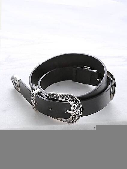 Black Double Carved Buckle Faux Leather Belt