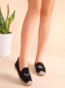 Black Blinking Eye Embroidered Espadrille Plimsolls