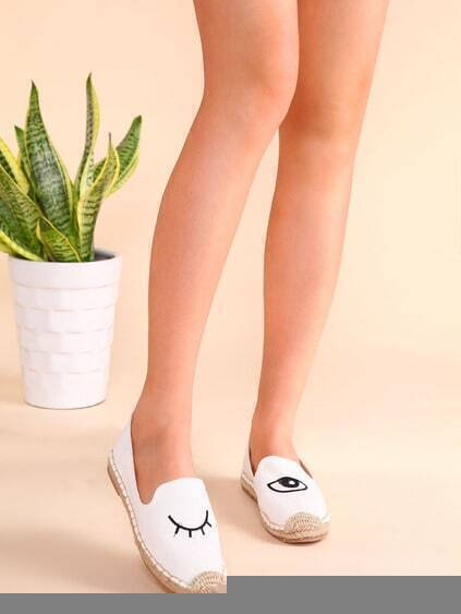 White Blinking Eye Embroidered Espadrille Plimsolls