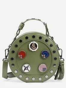 Green Metal Charm Studded Round Bag