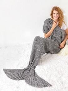 Manta de sirena con diseño de cola de pez - gris