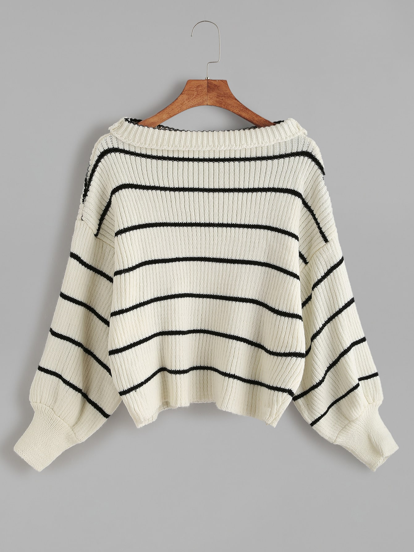 White Striped Dropped Shoulder Seam Sweater