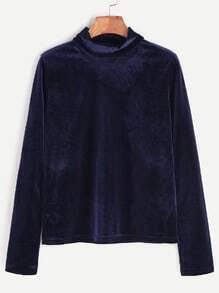 Royal Blue Mock Neck Velvet T-shirt