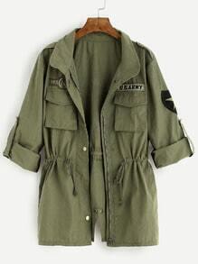 Veste imprimé avec poches et lacet - vert foncé