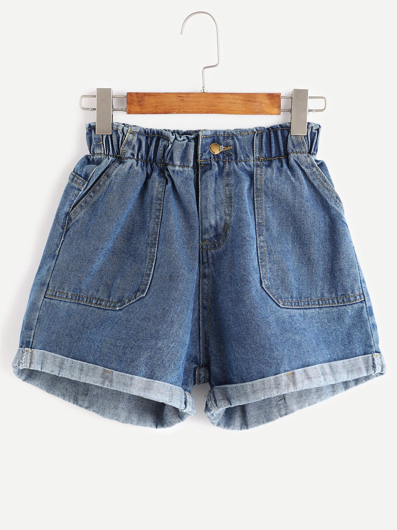 Blue Elastic Waist Rolled Hem Denim Shorts