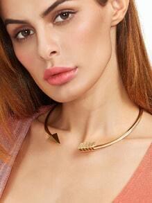 Golden Arrow-shaped Open Cuff Choker Necklace