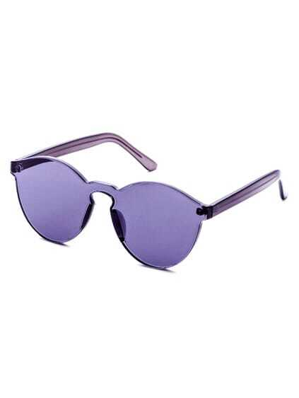 Purple Clear One Piece Retro Style Sunglasses