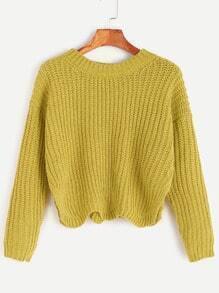 Jersey con hombro caído y abertura lateral ribete ondulado - amarillo