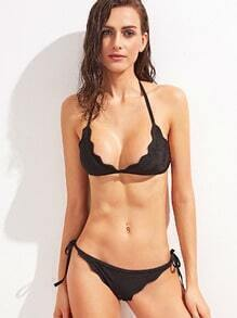 Black Halter Neck Lace Up Bikini Set