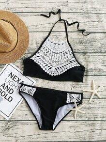 Lace Embellished Halter Neck Bikini Set