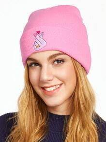 Light Pink Embroidered Knit Beanie Hat