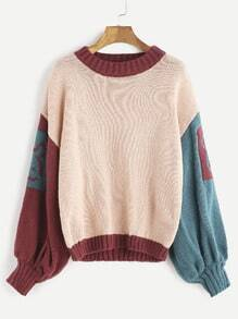 Dropped Shoulder Seam Patchwork Sleeve Pattern Sweater
