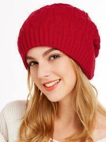 Red Crochet Knit Ribbed Beanie Hat