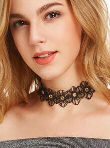 Black Floral Lace Hollow Out Hole Choker Necklace