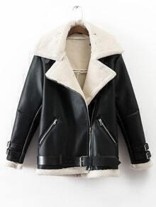 Veste en fausse laine col à revers avec zip oblique et ceinture - noir