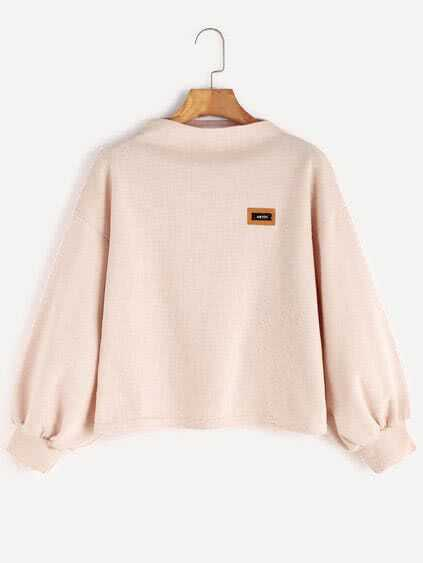 Apricot Funnel Neck Drop Shoulder Lantern Sleeve Patch Sweatshirt