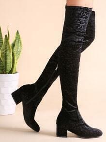 Botas de terciopelo con cremallera - negro