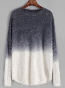 Ombre Drop Shoulder Fuzzy Sweater
