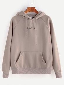 Letter Print Raglan Sleeve Drawstring Hooded Pocket Sweatshirt