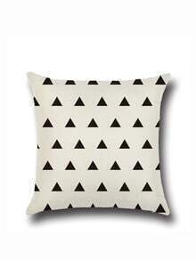 Funda de almohada con estampado geométrico - negro y beis