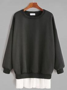 Vestido hombro caído ribete en contraste - negro