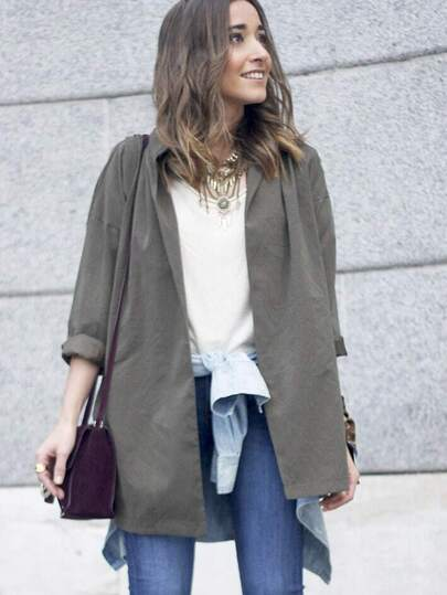 Army Green V Neck Belt Coat